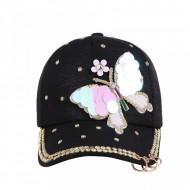 Sapca dama, inchidere reglabila, design fluture, cu perlute si tinte, neagra