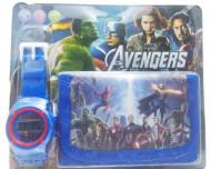 Set Ceas pentru baietei cu portofel, tip Avangers, model 2