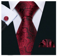 Set cravata + batista + butoni - matase naturala 100% - model 120