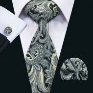 Set cravata + batista + butoni - matase naturala 100% - model 9