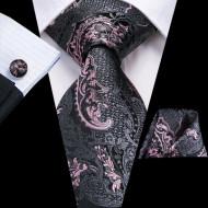Set cravata + batista + butoni - matase naturala 100%, tesatura Jaquard - model 18
