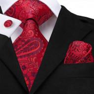 Set cravata + batista + butoni - matase naturala 100%, tesatura Jaquard - model 24