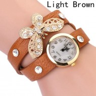 Ceas dama curea lunga Crystals & butterfly- light coffee