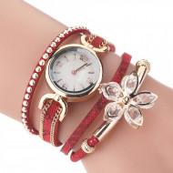 Ceas dama Flower Style, rosu