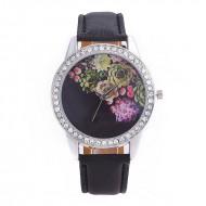 Ceas dama Roses & crystals - negru