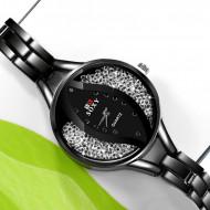 ceas de dama ieftin cu cristale, negru