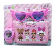 Ceas pentru fetite cu portofel, tip LOL Surprise, set