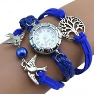 Elegant ceas de dama cu copacul vietii si pasari, albastru