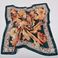 Esarfa eleganta din matase satinata, model floral pe fond verde, model 15