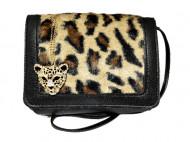 Geanta / poseta de dama, animal print, bej / maro / negru + colier leopard cu cristale