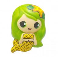 Jucarie Squishy, model sirena, verde cu galben