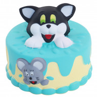 Jucarie Squishy parfumata, model tort cu Tom si Jerry