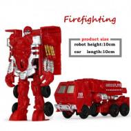 Robot transformer, masina de pompieri, jucarie ieftina