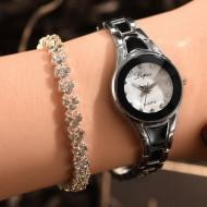 set ceas de dama cu bratara negru cu argintiu