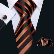 Set cravata + batista + butoni - matase naturala 100%, tesatura Jaquard - model 25