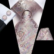 Set cravata + batista + butoni - matase naturala 100%, tesatura Jaquard - model 19
