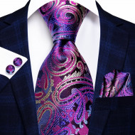 Set cravata + batista + butoni - matase naturala 100%, tesatura Jaquard - model 39