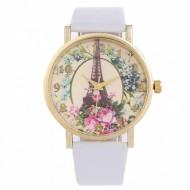 Ceas dama cu Turnul Eiffel si flori - alb