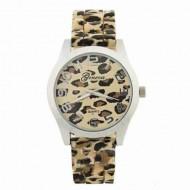 Ceas dama Geneva, model leopard, pe argintiu