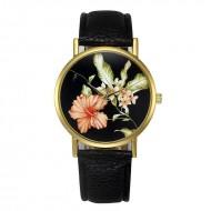 Ceas dama model flori exotice - negru