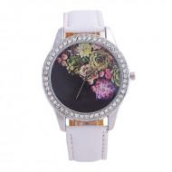 Ceas dama Roses & crystals - alb