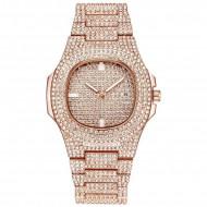 Ceas dama Square Full Crystals, cu data - rose golden + cutie cadou