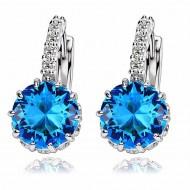 Cercei eleganti cu cristale bleu