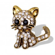 Eleganta brosa cu cristale - pisicuta