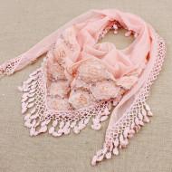 Esarfa eleganta din dantela cu paiete si trandafiri aplicati - roz