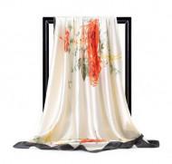 Esarfa eleganta din matase satinata, cu design floral, model 57
