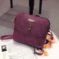 Geanta / poseta de dama, cu ornament auriu, purple / mov