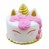 Jucarie Squishy, parfumata, tortulet unicorn, roz cu auriu