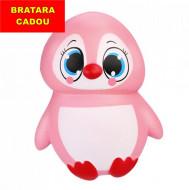 Jucarie Squishy, pinguin fetita, roz