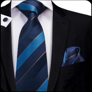 Set cravata + batista + butoni - matase naturala 100% - model 74