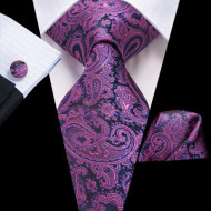 Set cravata + batista + butoni - matase naturala 100%, tesatura Jaquard - model 20