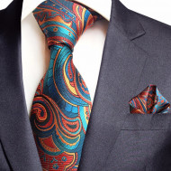 Set cravata + batista - matase naturala 100%, tesatura Jaquard - model 37