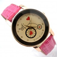 Ceas dama Bicycle & Heart - rose - red