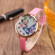 Ceas dama cadran stralucitor cu minicristale si fluture - roz