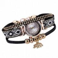 Ceas dama cu cristale si pandant elefant (simbolul norocului) - negru