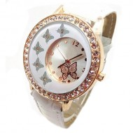 Ceas dama White & Golden Butterfly