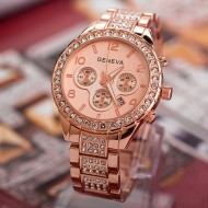 Ceas Geneva Multi-crystals, afisaj data - rose gold