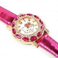 Ceas tip Hello Kitty, cu cristale, ideal pentru tinere moderne - frez