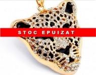 Colier fashion cu pandant cap de leopard si cristale - Cadoulchic
