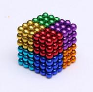 Cub bile magnetice multicolore, 216 piese, DOAR PENTRU COPII + 10 ANI