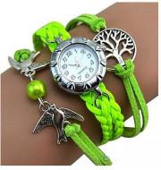Elegant ceas de dama cu copacul vietii si pasari, verde deschis