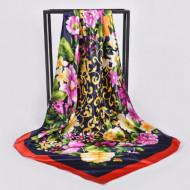 Esarfa eleganta din matase satinata, model floral, multicolora, model 16