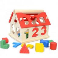 Jucarie din lemn, Casuta sortator cu forme si cifre, +3 ani