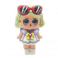 Jucarie Squishy, papusica cu ochelari de soare, Ivy