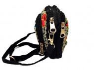 Poseta / geanta de dama, chic, neagra cu broderie florala, model 1