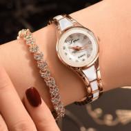 set ceas cu bratara, ieftin, alb cu auriu
